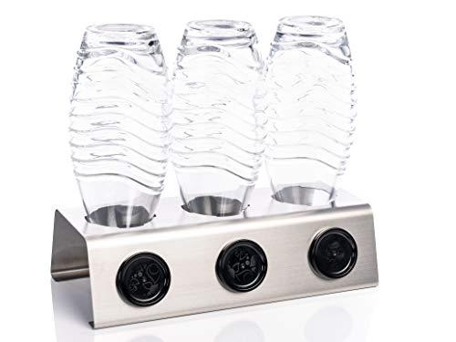Streambrush Premium Abtropfhalter aus Edelstahl Abtropfständer für z.B. Sodastream Crystal & Emil Flaschen - Flaschenhalter mit praktischer Deckelhalterung | Made in Germany 3X -