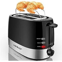 Aigostar Brotchen Black 30HIL - Grille-pain 2 fentes, 850 W, couleur noir. Fonction décongeler et maintenir au chaud, température réglable. Sans BPA. Design exclusif.