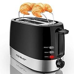 Idea Regalo - Aigostar Brotchen Nero 30HIL -Tostapane, 850W, 2 fette, regolazione della temperatura. BPA Free. Design esclusivo.
