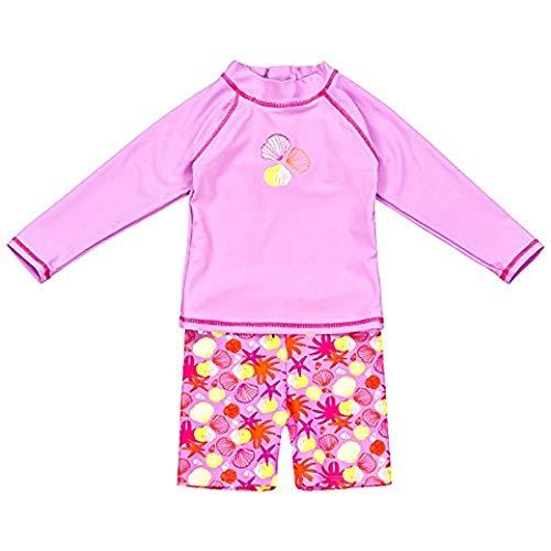Landora®: Baby- / Kleinkinder-Badebekleidung langärmliges 2er Set in violett; Größe 86/92