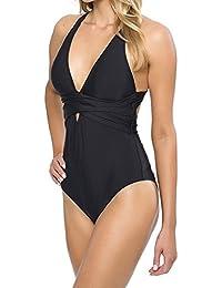 Bañadores Deportivas Mujer Traje De Baño De Una Pieza Push Up Bikini Trikini Negro XL