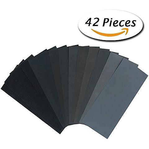 Paxcoo 42 Pieza Seco Mojado del papel de lija Grit Surtido 120 a 3000 9 * 3,6 pulgadas Hojas de papel de lija para lijado Automotive, muebles de madera de acabado, de madera o de terminación de