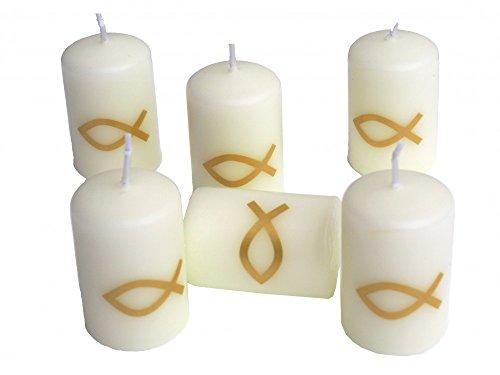 6 Kerzen Votivkerzen Fisch Gold Kommunion Konfirmation Taufe Tischdeko Kerzendeko