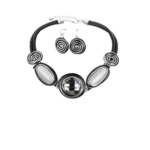 Diamant-streifen-shirt (TIREOW Eleganter Harz Lederband Streifen Halskette Ohrring für Frauen Mutter (Silber))