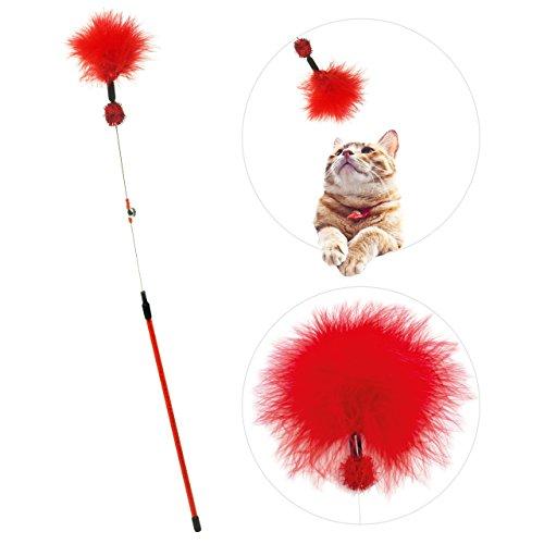 zaTeazer Katzenspielzeug (rot) | interaktiver Federstab mit Natur-Federn und Glocke | Premium Federwedel | robuste Katzenangel | Handarbeit – natürlich – langlebig – animierend