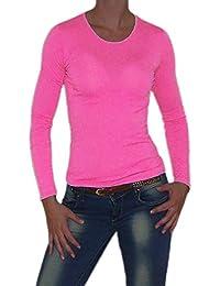 S&LU tolles Damen Basic-Langarm-Shirt mit Rundhals-Ausschnitt in schönen Farben Größe 34-38