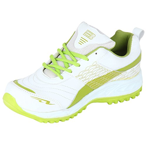 B.N.G. Enterprises Men's White & Parrot Green Synthetic Leather Sports Shoes - 7 Uk