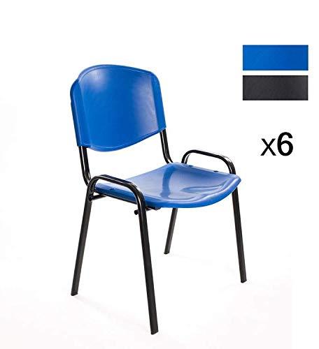 Notek Srl Set di 6 sedie per sala d\'attesa ufficio riunione meeting ...