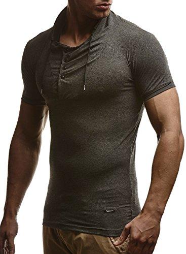 LEIF NELSON Herren T-Shirt Sweatshirt Slim Fit LN635 Anthrazit