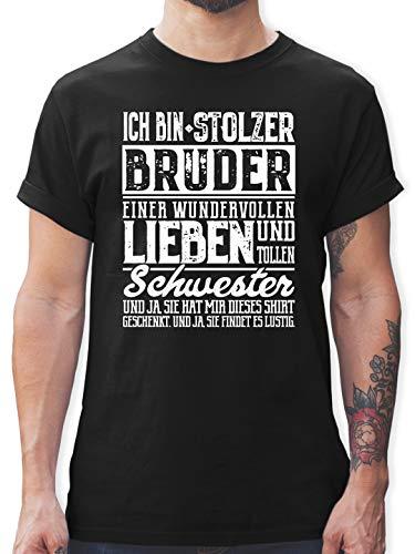 Bruder & Onkel - Ich Bin stolzer Bruder eine tollen und wundervollen Schwester - M - Schwarz - L190 - Tshirt Herren und Männer T-Shirts