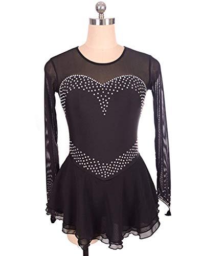 TQ Vestido de Patinaje artístico para niñas, Mujeres Roller Skate Dress Competencia Rendimiento Traje Cristales Manga Larga Negro,XL