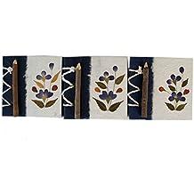 Pétalos Florales Diario Hecho a Mano Mini Flor Azul, Páginas Lisas - Pack de 3 (10cm x 10cm x 1cm)
