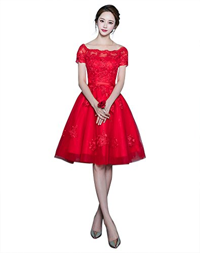 Erosebridal Kurz Ballkleid Spitze Appliques Perlen Abendkleider Rot DE36
