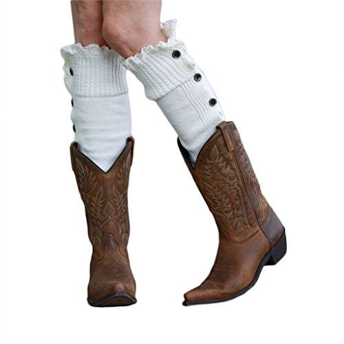 GGG 2015 Frauen Reizvolle Spitzeordnung Geknöpft Strick Stiefel Abdeckung Beinlinge Strumpf Cool (Farbe: Weiß)