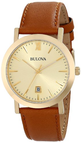 Bulova 97B135 - Reloj analógico de cuarzo japonés, unisex, color marrón