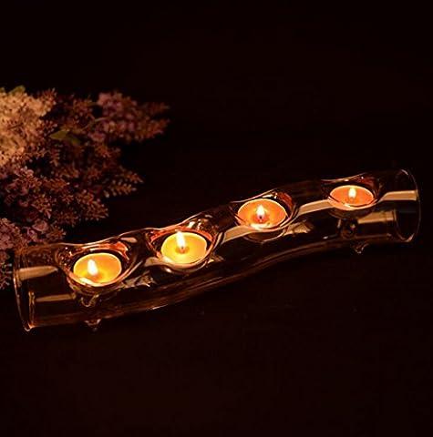 Wmshpeds En tubulaire courbé sous forme de chandelier en cristal, chandelier en verre dans un style européen, dîner romantique, accessoires de mariage, accessoires de décoration