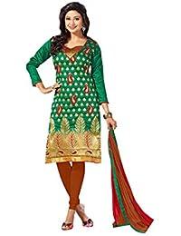 Terramart_ Salwar Set Material For Girls / Women - Chanderi Cotton ( Dark Green, Red & Brown )