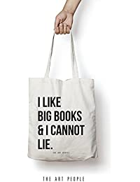 I Like Big Books Tote Bag Reusable Grocery Bag Machine Washable Canvas Shopping Bags With Long Handy Straps –...