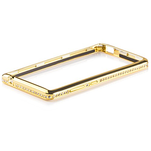 iCues Huawei Honor 3C    Alu Strass Bumper Gold   [Bildschirm Schutzfolie Inklusive] Strass Glitzer Glitter Luxus Bling Damen Frauen Mädchen Chrome CNC Aluminium Metall Metallic Schutzhülle Hülle Cover Schutz