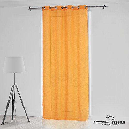 Bottega tessile tenda per interni mod. evana,modern style,colore giallo mis. 140 x 280 cm,tinta unita - tessuto misto lino