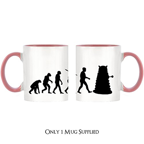 Evolution of Mutant Cyborg Design Two-Tone Tasse mit rosa Griff & Innen - Who Mutanten Dr