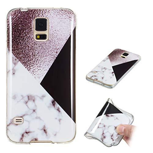 Yunbaozi Marmor Hülle für Samsung Galaxy S5 Schlank Weich Gummi Case Stoßstange Löschen Matte Drucken Natürliche Textur Anti-Scratch Shock Geometrische Muster, Schwarzes Weißgrau