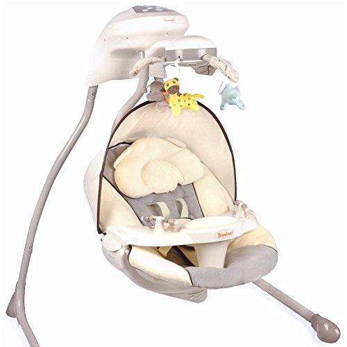 Elektrische Babyschaukel Modell Dodoli mit Musikfunktion Lichteffekte Mobile verstellbarer Sitz Timer Grau