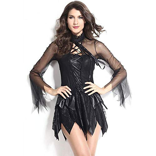 Angel Evil Kostüm - ZXYSR Damen-Kleid, Schwarz-Weißes Engels-Teufel-Kleid Maskerade-Party-Leistungskostüm, Lady Evil Night Angel Fairy Schwarze Königin Dark Angel Kostüm Medieval Sexy,S