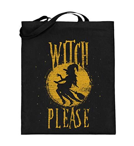 Shirtee Witch Please - Hexe Bitte - Hexen Halloween Kostüm 31. Oktober Geisterstunde Horror Nacht - Jutebeutel (mit langen Henkeln) -38cm-42cm-Schwarz