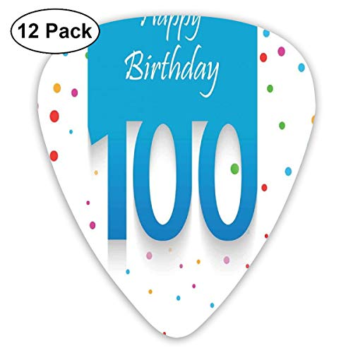 Guitar Picks - Abstract Art Colorful Designs,Birthday Party Wish For 100 Years Old With Colorful Dots Image,Unique Guitar Gift,For Bass Electric & Acoustic Guitars-12 Pack -