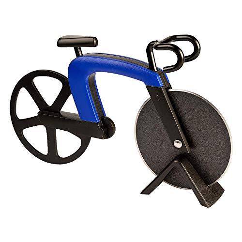 OUTANG Fahrrad Pizzaschneider Pizzaschneider Edelstahlklingen mit Antihaftbeschichtung mit Ständer (Blau)