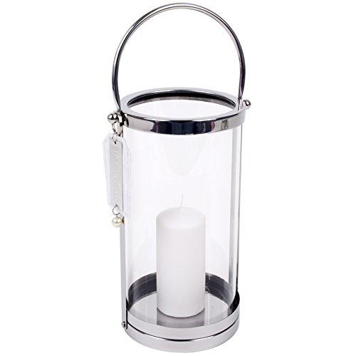 ahl 45x16x16cm silber Design Luxus Dekoration (Runde Glas-laternen)