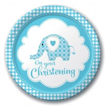 Christening Plates - Blue - Pack of 8 (Blue Elephant Party Supplies)