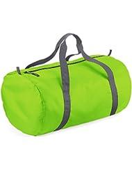 BagBase - Sac de Sport Tonneau repliable - Vert Citron/Gris Graphite