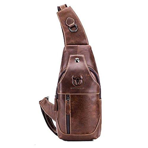 Echtes Leder Sling Bag Herren - Retro Brust Sling Crossbody Umhängetasche Casual Crossbody Tasche Reisen Wandern Daypack (Echtes Leder Handtasche Sling)