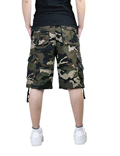 Menschwear Herren Vintage Cargo Shorts Bermuda Kurze Hose Sommer Kurze Hose Grün