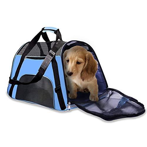 Imagen para Cikuso Portador De Viaje De Mascotas Bolsas Portátiles De Lado Blando Portador De Perro Aerolínea Aprobada Gatos Perros (2018 Versión Mejorada)