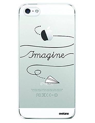 Coque iPhone SE / 5S / 5 Plastique rigide, EVETANE® Coque iPhone SE / 5S / 5 Protection Tendance et Design Original [Imagine] [Collection Humour] [Produit et Designé en France]