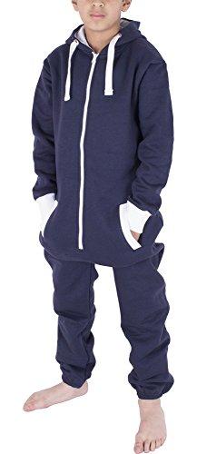 Unisex Kinder Jungs Mädchen Skeleton Halloween Fleece Kapuzen Onesie Jumpsuit 2-13 Jahre (11/12 Jahre, Einfarbig Navy)