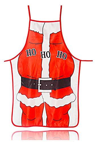 MYMYU Grembiuli da Cucina di Babbo Natale Grembiuli da Cuoco Anime Divertenti Grembiule Regalo Natalizio Flirty per Uomo Donna Adulto (Santa)