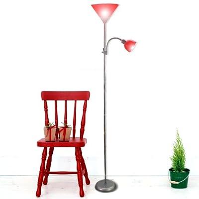 Stehlampe Leselampe Leuchte Stehleuchte Fluter, mit Lesearm, 1x E27 + 1 x E14, Silberfarben, Schirme in Rot NEU von Hergestellt für Realm bei Lampenhans.de