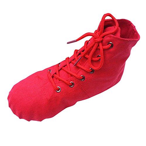 Segeltuchschuhe Damen Herren Espadrilles Unisex High Top Sportschuhe Booties Modern Yoga-Schuhe Canvas Jazz Ballett Tanz Sport Schnürstiefel Schuhe, Rot