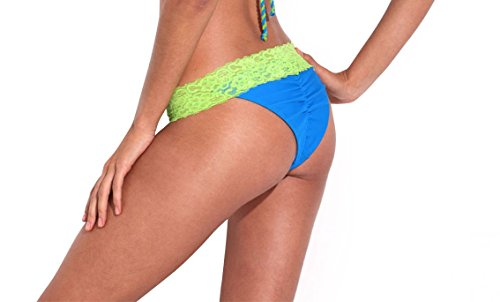 RELLECIGA Damen Bademode Bikini Unterteil im Brasil-Style Luxusspitze Saphir + grüne Spitze