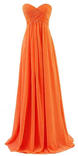 Vantexi Damen Trägerlosen Chiffon Lang Formal Abendkleid Ballkleid Orange