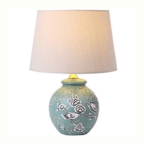 LEGELY Pastoralen ländlichen Stil bemalte Keramik Tischlampe, Blumen und Vogel Textur und feine Leinen Lampe, antikes Schlafzimmer Buch Zimmer Nacht dekorative Lampe, E27 -