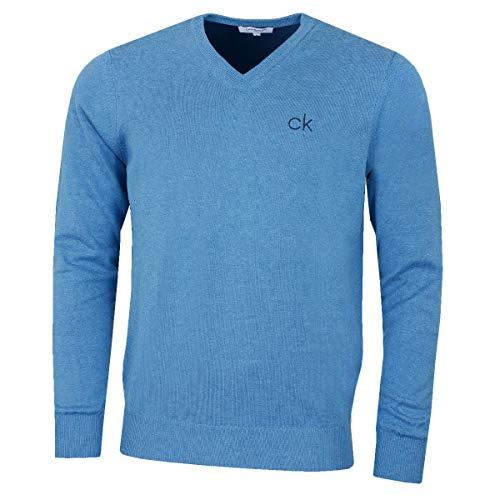 Calvin Klein Golf Herren V-Ausschnitt-Tour Sweater - Blau Marl - L Golf Herren Pullover