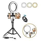 """Luce ad Anello LED,Morpilot Ring Light 10"""" Led Ring Flash Tre colori Regolabile Luminoso 3200-6500k Anello Light Video Lighting con Treppiede e Specchio cosmetico per Trucco, Selfie e Video YouTube"""