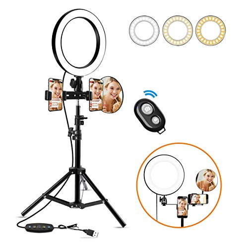 Anillo de Luz led,10' Ring Light 3200-6500K Temperatura de Color, Brillo Regulable (0%-100%), Control Remoto Inalambrico, para Movil fotografia, Youtube,y Selfie Video de Maquillaje