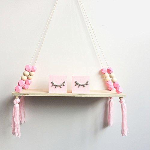 Holz hängende Wandregal, Prinzessin Stil Quaste Perlen Dekoration Lagerung Display Regal für Frauen Mädchen Kinder Schlafzimmer Dekor