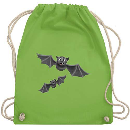 Shirtracer Halloween - süße Fledermäuse - Unisize - Hellgrün - WM110 - Turnbeutel und Stoffbeutel aus Bio-Baumwolle